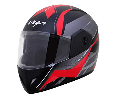 Vega Cliff DX Pioneer Full Face Helmet (Dull Black and Red, M (58 cm))