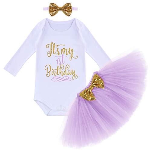 FYMNSI - Conjunto de ropa para bebé y niña (3 piezas, con lentejuelas) morado claro 1 Año