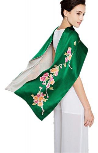 Prettystern - Zweilagig Handbemalter Orientalische Floral Blumen Langer Damen Seidenschal Abendkleid...