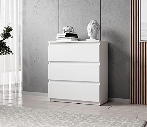 FURNIX Kommode mit 3 Schubladen 70 x 37 x 76 cm in weiß matt - Schubladenkommode Holz Mehrzweckschrank für Flur Schlafzimmer Wohnzimmer Badezimmer Kinderzimmer als Sideboard Highboard Kippschutz
