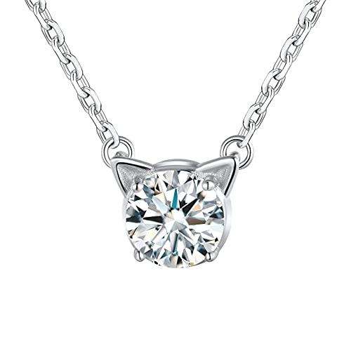 Silvercute - Collar para mujer con piedra de nacimiento sintético de plata 925, colgante chic en miniatura con cadena fina ajustable de 40 + 5 cm/1,5 mm, Imitación de piedras preciosas.,