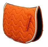Rhinegold Tapis de Selle rembourré pour Cheval ou Poney, Motifs Vagues, Superbes Couleurs, Toutes Tailles L Orange