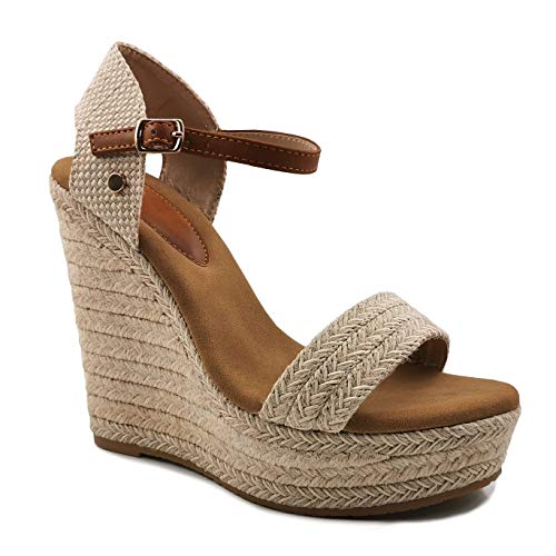 Angkorly - Damer skor Espadrille sandaler – Peep-Toe – ankelremmar – platåskor – korsade remmar – lina kilklack hög klack 13 cm, - Beige 2 - 40 EU