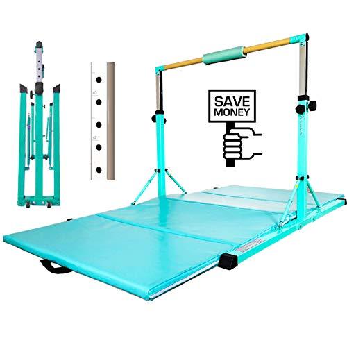 PreGymnastic Foldable & Movable Gymnastics Kip Bar/Junior Training Bar/Stainless Steel Regulating Arm & Strong Fiberglass Rail (Mint Green(C/W Mat))