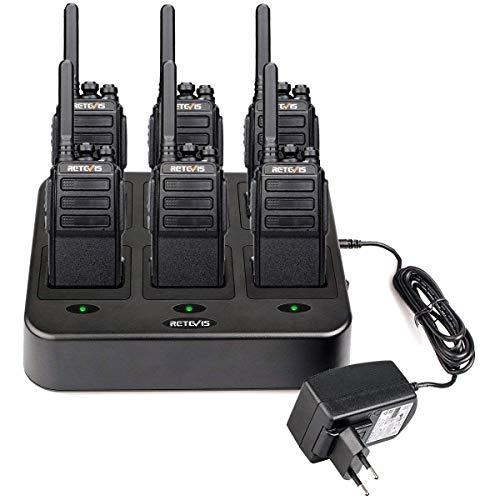 Retevis RT28 Walkie Talkie Largo Alcance PMR446 sin Licencia 16 Canales Walkie-Talkies VOX Squelch Radio de 2 Vías con Base de Cargador de 6 Vías para Restaurantes Equipo de Airsoft (6 Piezas, Negro)