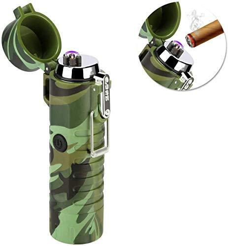 SZSMD - Mechero de arco eléctrico recargable por USB, con linterna, resistente al viento, sin llama, con caja de regalo para cigarrillos, cocina, exterior, camping