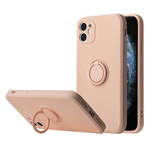 Funda Compatible con Apple iPhone 12 Pro MAX Teléfono Móvil Silicona Liquida Bumper Case y Flexible Ultra Slim Anti-Rasguño Protectora Caso con 360 Grados Rotaria Ring Holder (12 Pro MAX, 6)