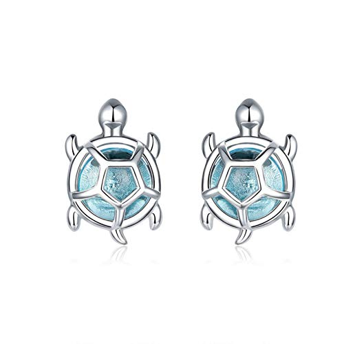 ZYMQ Ocean Blue Turtles Stud Earrings for Women 925 Sterling Silver Glass and CZ Studs Jewelry Girl Birthday Gifts