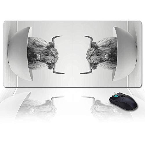 Extra großes, erweitertes Gaming-Mauspad, Yak-Badewanne, schwarz-weißes Mousepad, lange rutschfeste Gummibasis, XXL-große Tastatur-Schreibtischmatte für Desktop / Laptop / Büro / Zuhause