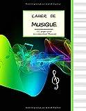 Cahier de Musique 100 pages pour la Composition Musicale: Grand Format | PAPIER BLANC avec 13 Portées par page | Couverture variation de notes et couleurs.