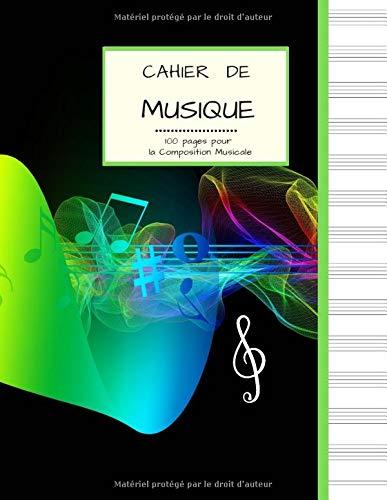 Cahier de Musique 100 pages pour la Composition Musicale: Grand Format   PAPIER BLANC avec 13 Portées par page   Couverture variation de notes et couleurs.