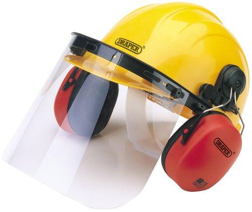 Draper 69933, Casco de Seguridad con Protectores Auditivos y Visera, Amarillo