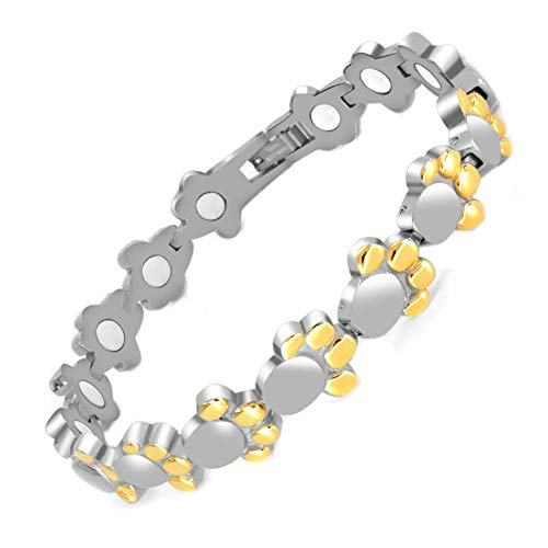 N+NITROLUBE Magnetic Bracelet for Women Cute Dog Paw Stainless Steel Link Elegant Fashion Jewelry and Relieve Arthritis Pain (7.08 Inches)