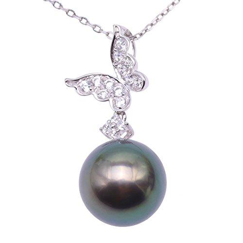 JYX Perlen kette AAA Tahiti perle Halskette Elegant Damen 9,5 mm Pfauengrüne Rund Natur Tahiti Südsee Zuchtperlen Anhänger Halskette in 14 K Gold