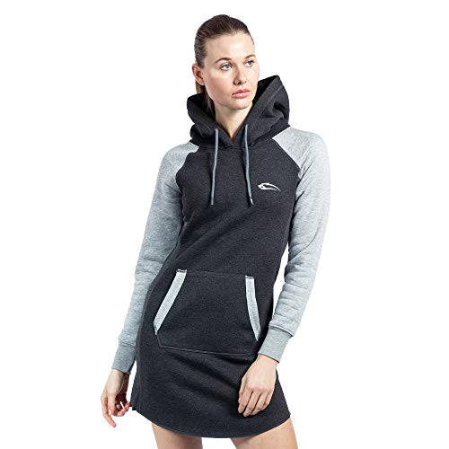 SMILODOX Damen Sweatkleid Enjoy | Hoodie Kleid für Sport Fitness & Freizeit | Oversize Kapuzenpullover | Pullover - Sportpullover - Sweatshirt, Farbe:Anthrazit/Grau, Größe:XS