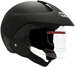 MMG 203 Motorcycle Open Face Helmet DOT Street Legal, Flip Up Clear Visor, Matte Black, Large