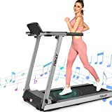 FUNMILY Treadmill, 2.25HP Folding Treadmills for Home with Table & Bluetooth Speaker & Large LCD Monitor, Zero Installation Walking Jogging Machine for Home/Office Use (Sliver)