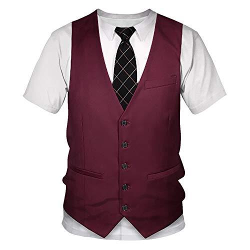 VYNTM Herren T Shirt 3D T-Shirt Männer Mode Fake Anzug Druck Kurzarm Harajuku Slim Fit T-Shirt Hip Hop Streetwear
