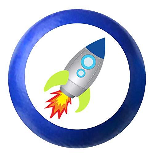 "Kommodenknauf""Rakete Astro"" ultramarinblau blau Holz Buche Kinder Kinderzimmer 1 Stück Fahrzeuge Transportfahrzeuge Traum Kind"