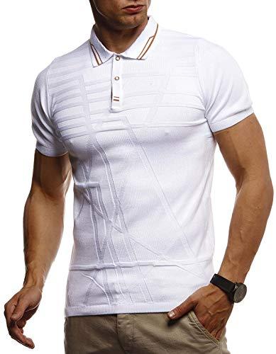 Leif Nelson Herren Sommer T-Shirt Poloshirt Slim Fit aus Feinstrick Cooles Basic Männer Polo-Shirt Crew Neck Jungen Kurzarmshirt Polo Shirt Sweater Kurzarm LN7305 Weiß X-Large
