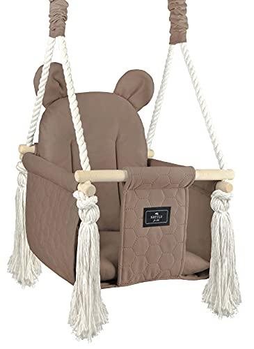 NATILU Bear Cacao - Columpio para bebés, columpio infantil, de madera, para interiores y exteriores, certificado CE, hecho con amor