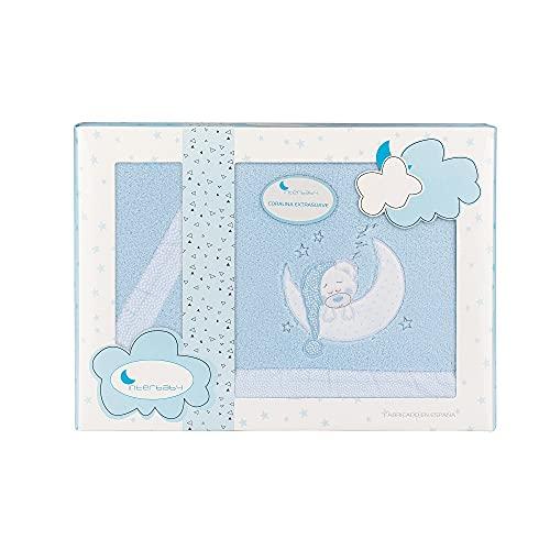 Sábanas de Coralina para minicuna Bear Sleeping, en azul
