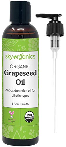 Grapeseed Oil by Sky Organics (8oz) 100% Pure, Natural & Cold-Pressed Grapeseed Oil - Ideal for Massage, Cooking and Aromatherapy- Rich in Vitamin A, E and K- Helps Reduce Wrinkles