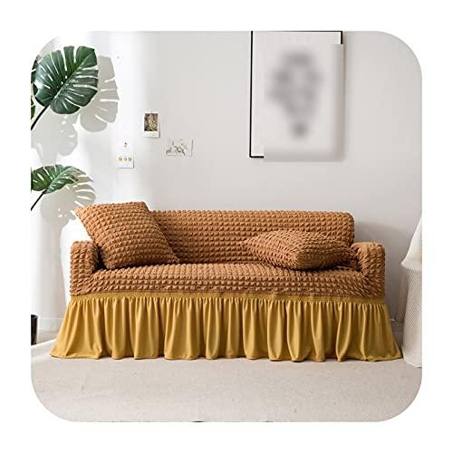 covers Sofaüberwurf Popcorn Plaid Sofaüberwurf eng umwickelt all-inclusive elastisch Couch mit Rock Sessel/Möbel Kamel-Doppelsitz Sofa