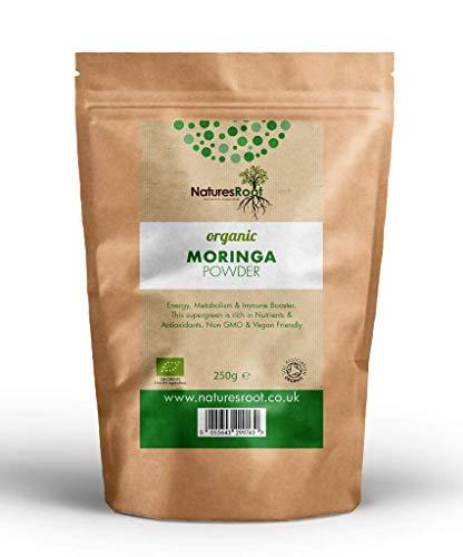 Natures Root Moringa in Polvere Bio 125g - 100% Superfood Verde Naturale | Cibi integrali vegani | Senza OGM | Ricco di Antiossidanti