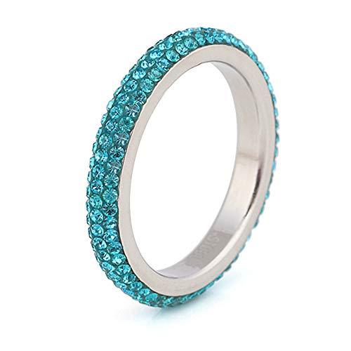 BVGA Anillo de diamante simple de acero inoxidable de lodo, anillo de diamante de 6 anillos azules para mujeres niñas hermanas amigas significativo regalo de joyería