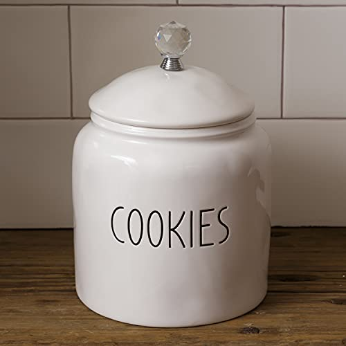 Decorative 9-Inch White Ceramic Cookies Jar Canister with Lid and Crystal Handle - Elegant Modern Kitchen Counter Storage Crock Container - Country Farmhouse Home Decor