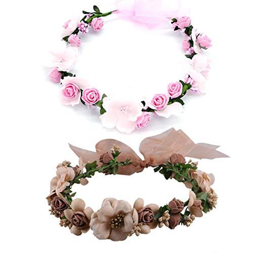 CO 2 Pezzi Fasce per Le Ragazze Capelli, Boho Flower Wreath Headband ,Copricapo Corona di Fiori, per Cappello Ornamento Festa Festival Spiaggia Travle Accessori da Sposa.