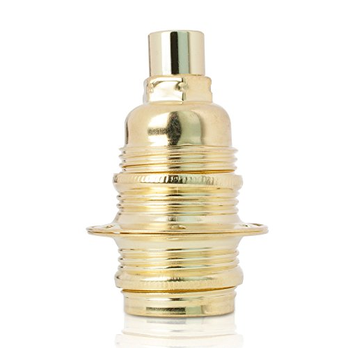 Fassung für Lampe E14, Metall Lampenfassung mit Außengewinde und Schraubringen, vermessingt mit Zugentlastung in Messing-Finish