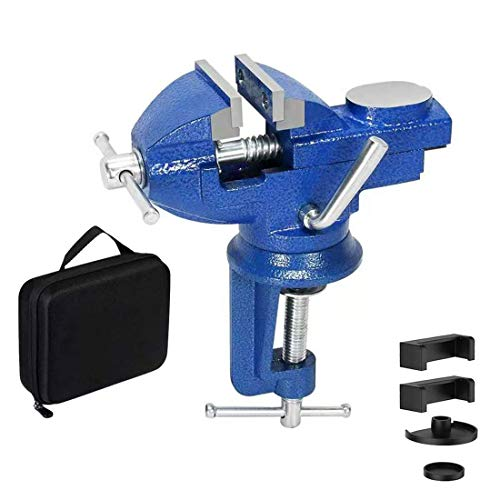 Vise Universal Rotate 360° Work Bench Clamps-on Vise Table Vise (blue 2.5'')