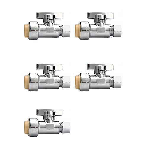 Tremax Straight Stop Valve 5 Pack, 1/2'' Push x 3/8'' OD Compression Water Shut Off Valve for Shower System, 1/4 Turn Water Stop Valve, Push to Connect, Pex, Copper, CPVC