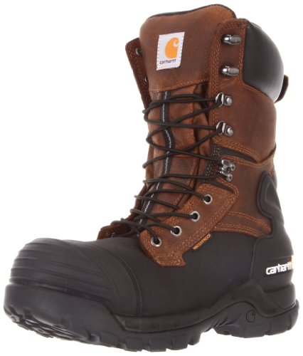 """Carhartt Men's 10"""" Waterproof Insulated PAC Composite Toe Boot CMC1259,Brown Oiltan/Black Coated,9.5 M US"""