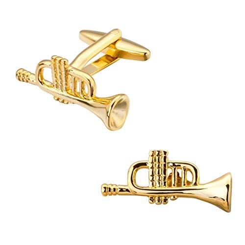 Owenqian ManschettenknöPfe Herren Geschenk, Die Musikausrüstung Kupfer Gold Trompete Manschettenknöpfe Hemd Manschette Manschettenknöpfe Herrenschmuck