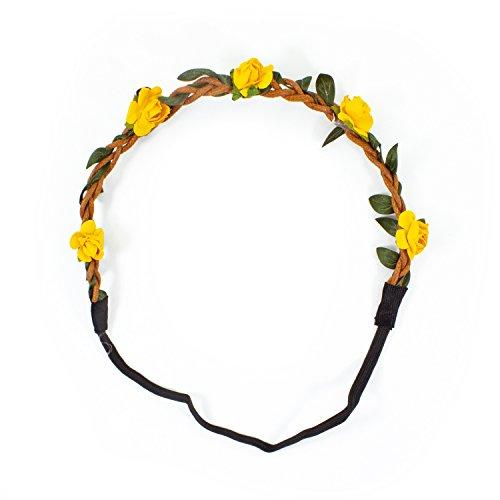Oblique-Unique® Blumen Haarband Stirnband Blumenkranz Haarschmuck Kopfschmuck Bohemia Style - Farbe wählbar - (Gelb)