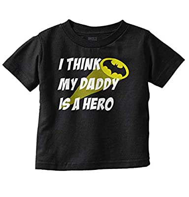 Brisco Brands My Daddy is Bat Cute Fathers Day Comic Hero Toddler T Shirt