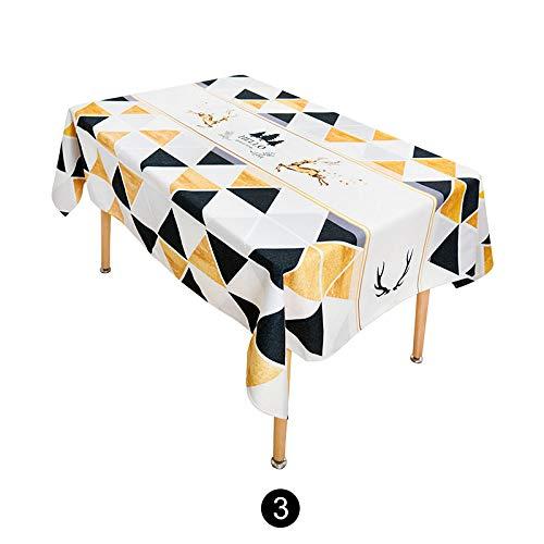 Creek Ywh tafelkleed, minimalistisch, modern, geelgoud, rechthoekig, rond, tafelkleed, katoen, linnen 3#, 140 x 140 cm [geschikt voor ronde tafel]