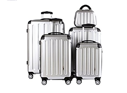 5 Teiliges Kofferset M L XL XXL + Beautycase Polycarbonat / ABS Trolley Koffer Bordcase Set Hartschale Reisekoffer Kofferset TSA Schloss (Silber)