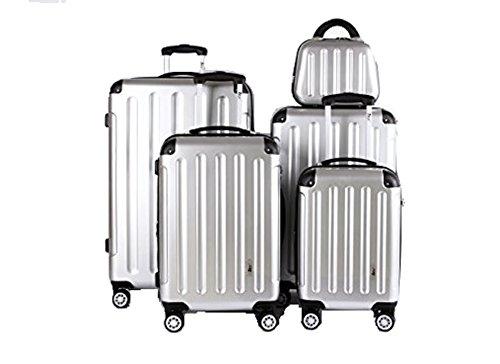 5 Teiliges Kofferset M L XL XXL + Beautycase Polycarbonat / ABS Trolley Koffer Bordcase Set Hartschale Reisekoffer Kofferset TSA Schloss (Silber)