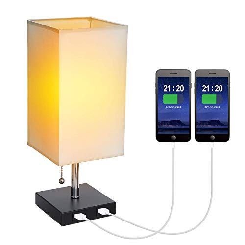 Tomshine USB Bedside Table Lamp with Pull Chain Switch Modern Nightstand Lights Square Fabric Shade with 2 USB Charging Port for Bedroom Lounge Office