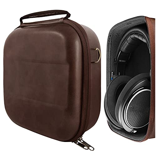 Geekria UltraShell Headphones Case Compatible with Sennheiser HD 599, HD 598, HD 560S, HD 559, HD 558, HD 555 Case, Replacement Hard Shell Travel Carrying Bag with Cable Storage (Brown Pu)