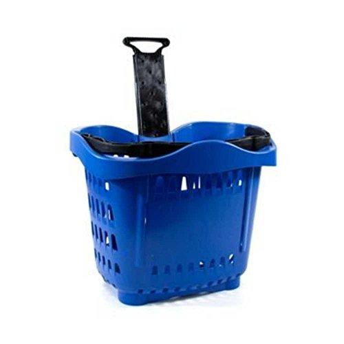 Cesta con ruedas para la compra de plástico con asa telescópica de 43 litros para decoración de supermercados y tiendas de 533 x 380 x 425 mm. Cesta útil para supermercados y minimarket (azul)