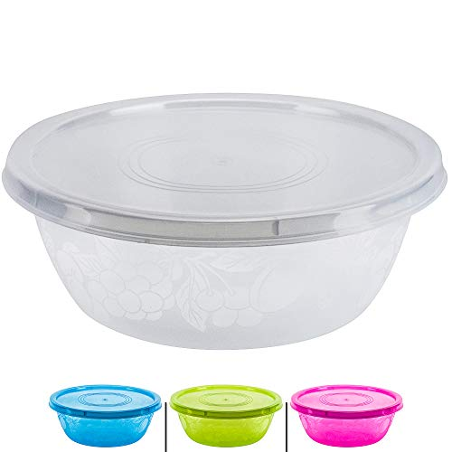 DecorRack Serving Bowl with Lid, Extra Large Bowl for Salad, Snacks, Dough Kneading, Durable Plastic Mixing Bowl with Tight Lid, Vibrant Party Decor, Random Colors (1 Container)