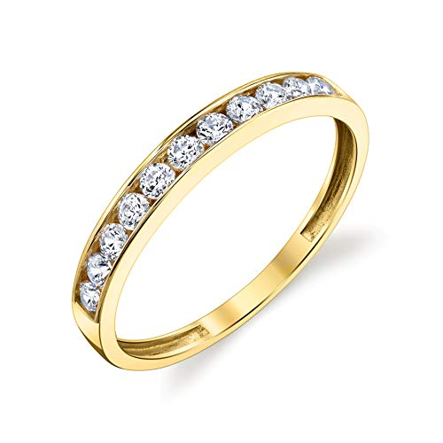 Tesori & Co 10k Solid Yellow Gold Channel Wedding Band Ring Size 6