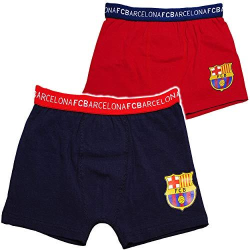 alles-meine.de GmbH 2 TLG. Set - Slips / Boxershorts - Fußball - FC Barcelona - FCB - Größe 10 bis 12 Jahre - Gr. 140 bis 152 - 100 % Baumwolle - für Jungen Kinder - Boxershort S..