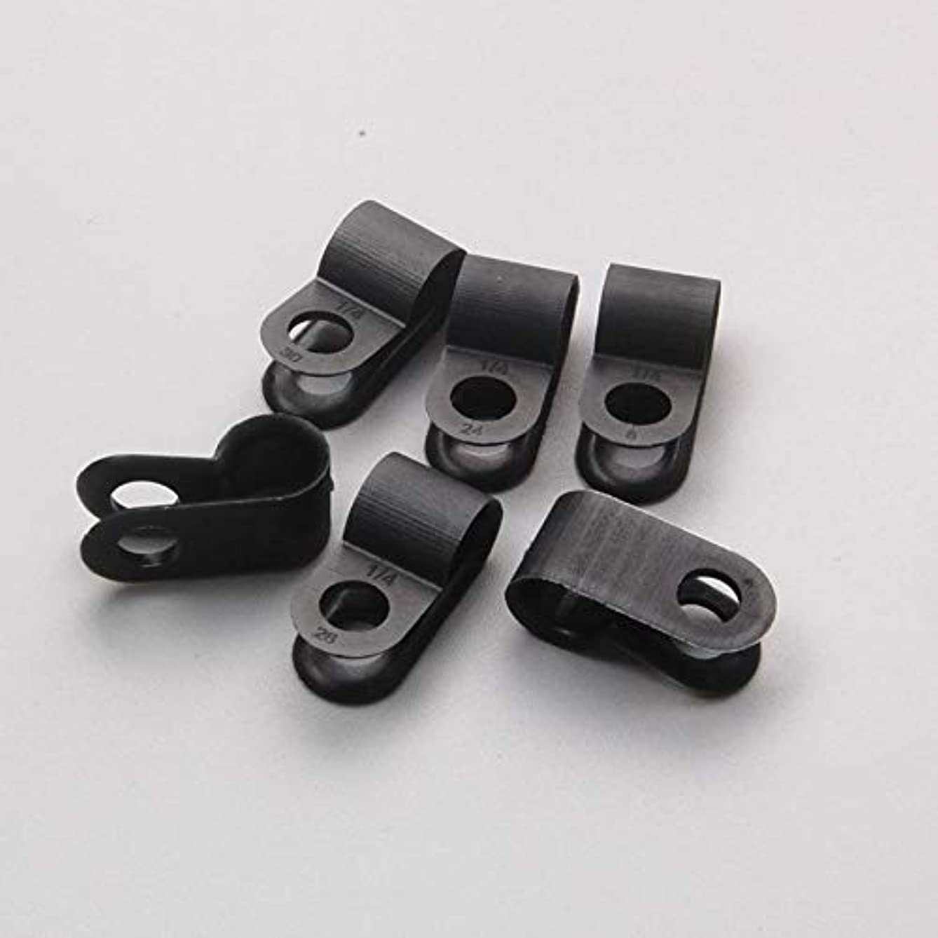 100 X Nylon Black Wire Cable Hose P Type Clamp Clips Clip C R 6.4mm 1/4