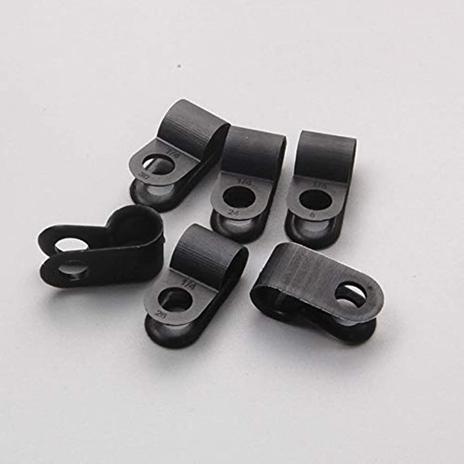 100 X Nylon Black Wire Cable Hose P Type Clamp Clips Clip C R 6.4mm 1/4